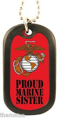 PROUD MARINE CORPS SISTER EGA LOGO ENGRAVABLE DOG TAG WITH 24