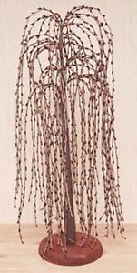 Primitive Country Burgundy Pip Berry Willow Tree 24
