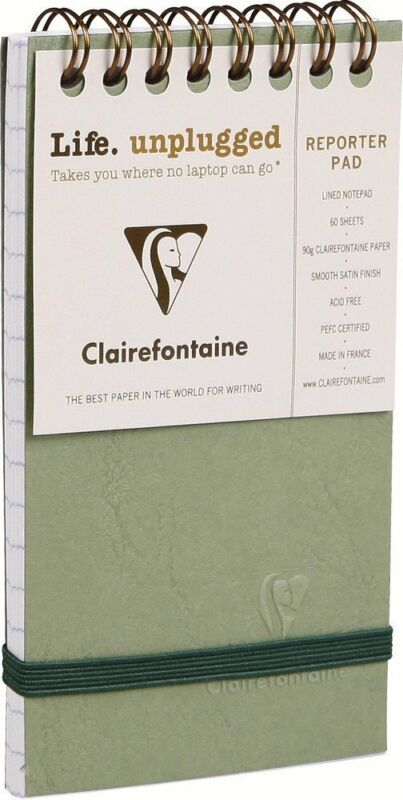 Clairefontaine The Reporter Lined Notepad in Green - 3 x 5 NEW Made in France