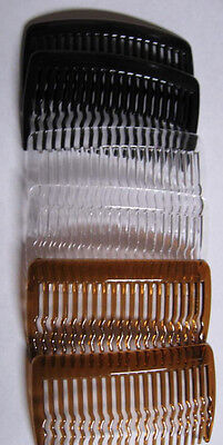 BROWN BLACK CLEAR Plastic Styling Hair Combs SLIDE SIDE or DIY craft glue on Craft Hair Combs