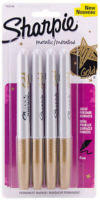 Sharpie Metallic Gold Permanent Markers 4 Pk Fine Tip Opaque Ink