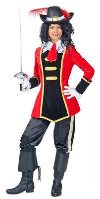 Musketier Julee Kostüm für Damen - Rot Mittelalter Film Fasching Party (Musketiere Kostüm Für Damen)