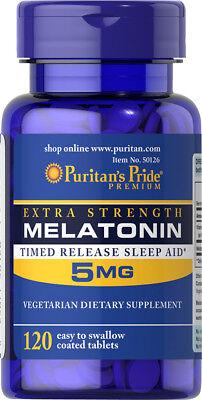 #1 BEST MELATONIN 5MG TIME RELEASED SLEEP AID SLEEPING PILLS SUPPLEMENT 120