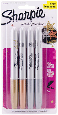 Sharpie Metallic Gold Silver Bronze Permanent Markers 4 Pk Fine Tip Opaque Ink