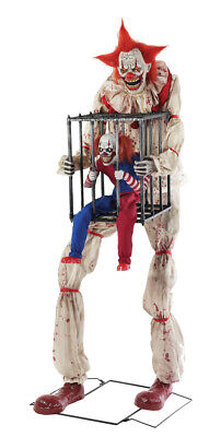 Halloween Animatronic CAGEY CLOWN WITH CLOWN IN CAGE Haunted House Prop Pre-Sale (Haunted Animatronics)