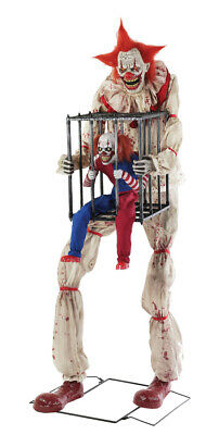 7 Ft ANIMATED CAGEY THE CLOWN WITH CLOWN Halloween Prop HAUNTED HOUSE - Animated Clown