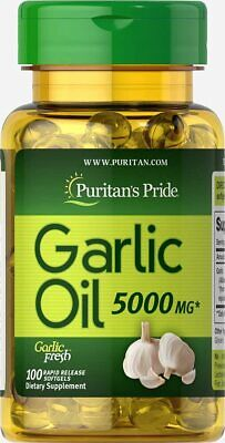 GARLIC OIL 5000 mg Support Cardiovascular Health Immune Antioxidant 100 Softgels Immune Support Wellness Oil