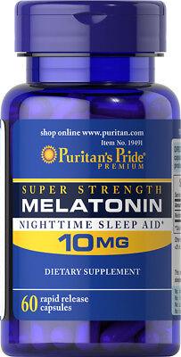 Puritan's Pride Night Time Sleep Aid Melatonin 10 mg, 60 Capsules