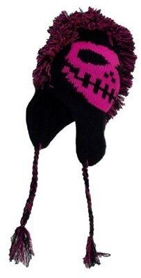 NEON PINK Mohawk Skull Beanie Winter Ski SNOW Hat Aviator Ear Flap Fleece Lined
