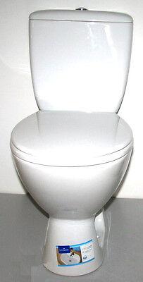 Tiefspül Stand Toilette mit Keramik Spülkasten Set Abgang senkrecht WC Sitz Neu