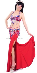 New-Arrival-Sexy-Belly-Dance-Costume-2-Pics-Bra-Belt-34B-C-36B-C-38B-C-10-Colors