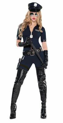 5-tlg. Damen Kostüm Stop Traffic Cop Catsuit Mütze Polizistin Police Overall (Kostüm Schwarz Overall)
