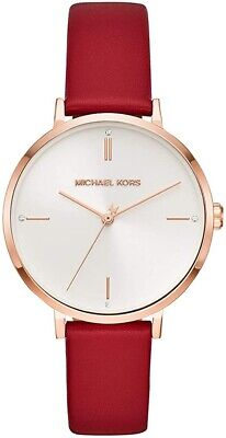 Michael Kors Ladies Jayne Rose Gold-Tone Red Leather Watch  - MK7103