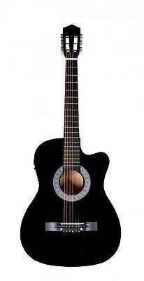Black Electric Acoustic Guitar Cutaway Design With Guitar Case, Strap, Tuner T4 Black Cutaway Acoustic Guitar
