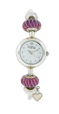 Caravelle by Bulova 43L140 Women's Round White Analog Raspberry Beads Watch