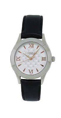 Caravelle by Bulova 43L142 Women's Round Clear Stone Analog Black Leather Watch Bulova Womens Black Leather