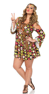 Plus Size Hippie Girl Damenkostüm Deluxe NEU - Damen Karneval Fasching Verkleidu ()