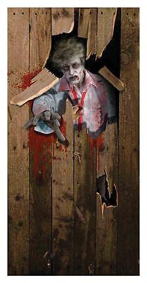 ZOMBIE BUSTING THROUGH DOOR COVER HALLOWEEN PARTY DECORATION FM66534 - Halloween Party Busted