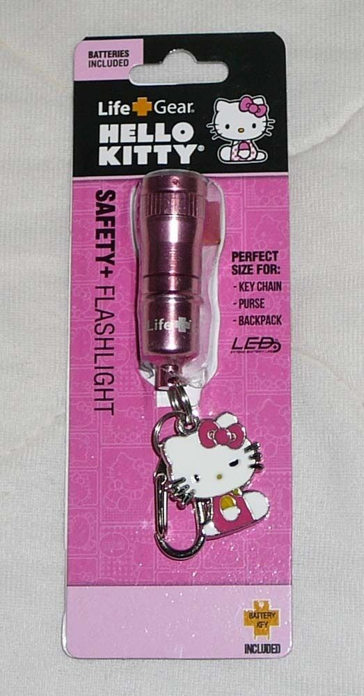 Hello Kitty Safety Keychain LED Flashlight Flash Light Hook Key Chain