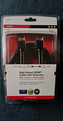 Vivanco high speed 4K HDMI cables with ethernet. 5 meters long (New...