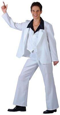 70's Saturday Night Disco Fever White Suit John Travolta Men's Costume S - XL - John Travolta Costume