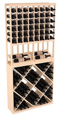 Wooden Side Display Diamond Cube Combo Wine Cellar Rack Kit in Pine. USA Made.