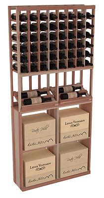 Wooden Side Display Case Bin Combo Wine Cellar Rack Kit in Redwood. USA Made.