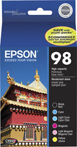Epson Genuine 98 (B,C,M,Y,Lt.C,Lt.M) 6-Pack Ink for Artisan 700 710 725 730 800