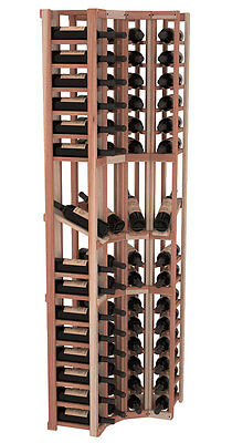 60 Bottle 4 Column Display Corner Wine Cellar Rack Kit in Redwood. Made in USA.