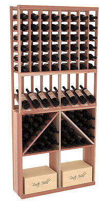 Wooden High Reveal Bottle/Case Bin Combo Wine Cellar Rack in Redwood. USA Made.