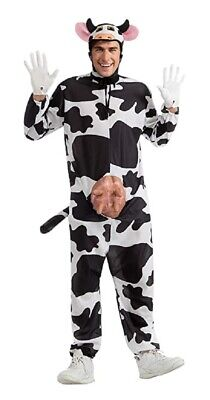 Halloween Black N White (Comical Cow Costume Adult Black N' White Funny Farm Animal Halloween Moo)