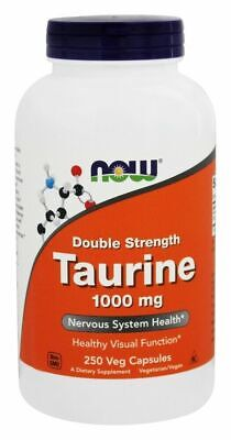 NOW Foods TAURINE Double Strength 1000 mg - 250 caps MOOD/NERVOUS SYSTEM SUPPORT 250 Caps Now Foods