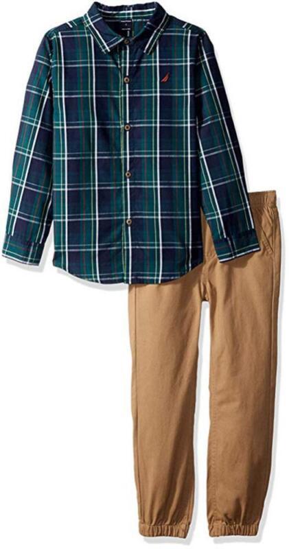 Nautica Boys Plaid Green & Navy Shirt 2pc Pant Size 2T 3T 4T 4 5 6 7