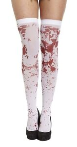 WHITE BLOOD STAINED STOCKINGS TIGHTS ZOMBIE NURSE HORROR HALLOWEEN ACCESSORY