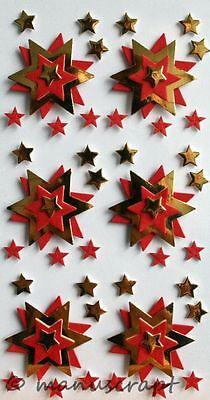 invierno Navidad Artoz artwork 3d-sticker estrellas de oro y rojo