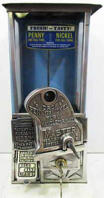 Masters Penny/Nickel Operated Candy/Peanut Machine circa 1920's Blue & - White Gumball Machine