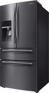 Réfrigérateur à portes françaises avec technologie Twin Cooling Plus, 24,7 pi³, Stainless noir Samsung ( RF25HMEDBSG )