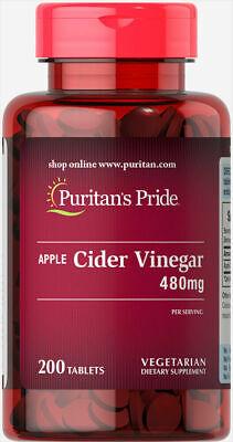Puritans Pride Apple Cider Vinegar 480 mg - 200 Tablets (free same day shipping) Apple Cider Vinegar 200 Tablets
