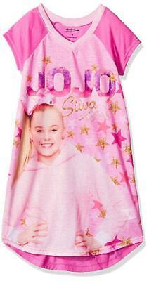 Pink Nightgown Girls (Jojo Siwa Girls Pink Pajama Nightgown Size 4 6 8 10)