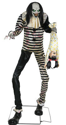 HALLOWEEN LIFE SIZE TOWERING ANIMATED SWEET DREAMS CLOWN  PROP DECORATION HAUNT