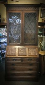 Beautiful Tall Tudor style Bureau bookcase