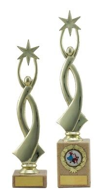 Gold Star Modern Achievement Trophies Awards 2 sizes FREE Engraving - Gold Star Trophies