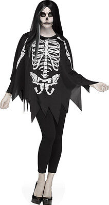 Womens Halloween Costumes Easy (Day of the Dead Skeleton Poncho Dress Cape Women's Sexy Easy Halloween)