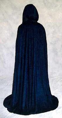 NAVY Blue Unlined Crushed Velvet Cloak Cape Wedding Wicca Medieval LARP