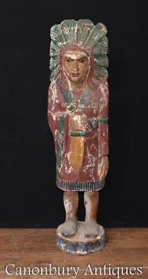 Large Hand Carved Native American Statue Big Chief