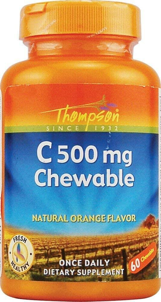 Thompson Vitamin C Chewable Tablets, Orange, 500mg, vitamina Immune