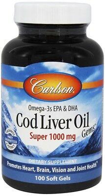 Carlson Labs Wild Norwegian Super Cod Liver Oil 1000 Mg 100 Softgels