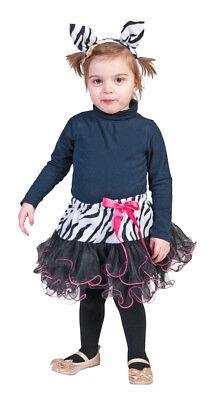Zebra Kostüm Set für Mädchen Tütü Haarreif Tierkostüm Zoo Safari (Zebra Kostüm Haar)