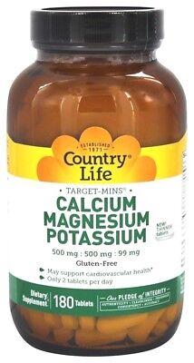 Calcium Magnesium Potassium (Country Life Target-Mins Calcium Magnesium Potassium - 180)