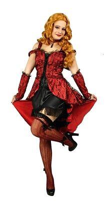 Can Can Kleid Sally Saloongirl Western Cowgirl Burleske Kostüm für Damen - Rote Cowgirl Kostüm